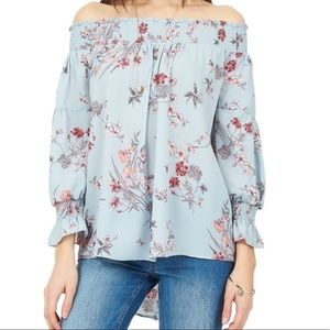 Airy, floral, off the shoulder blouse